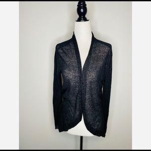 Eileen Fisher Black Linen Open Cardigan Size Small